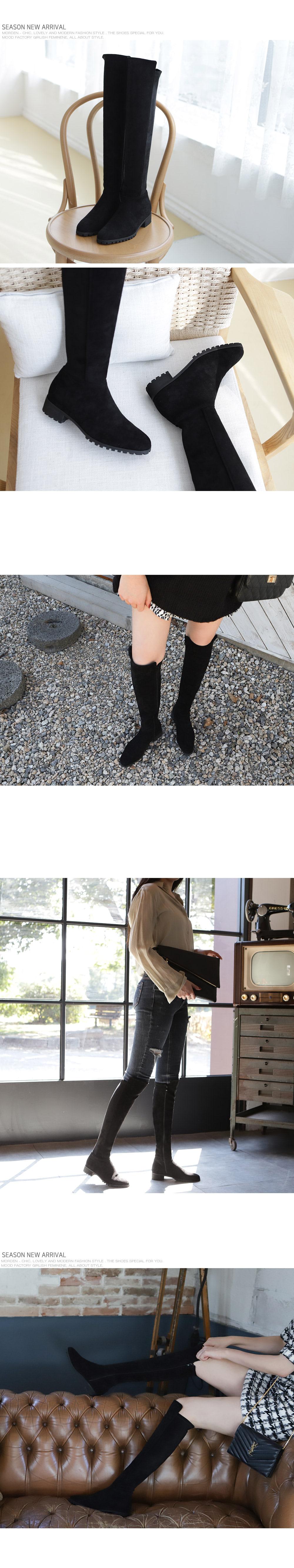 [Handmade] Stretch Suede Knee High Boots-holiholic.com