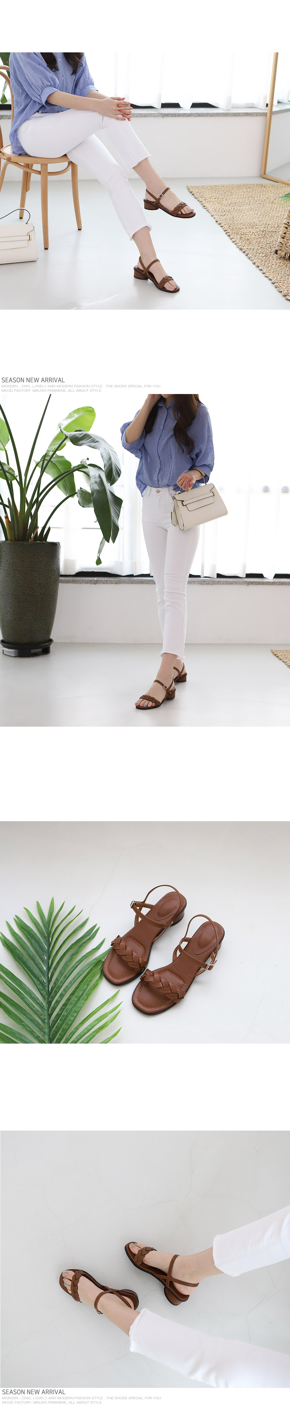 [Handmade] Low Chunky Heel Sandals-holiholic.com