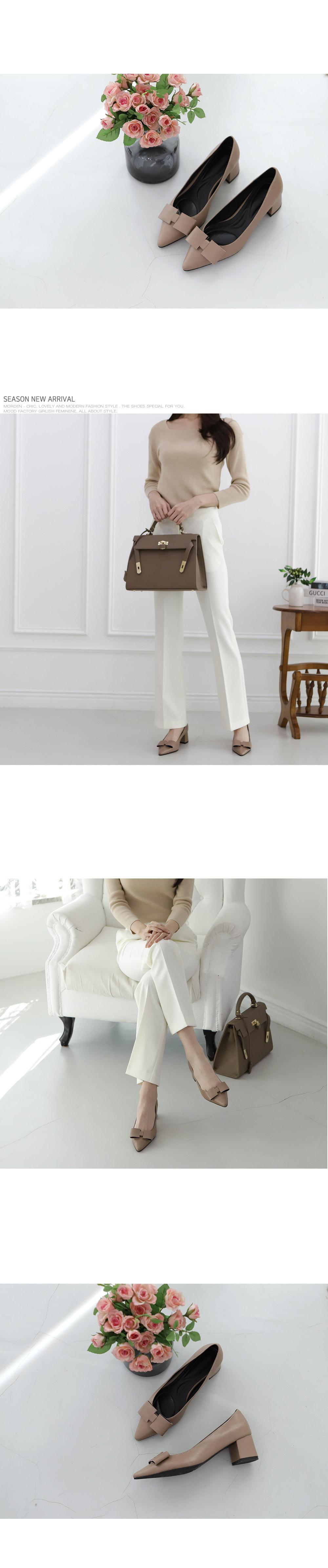 [Handmade] Kelly Leather Middle Heels-holiholic.com