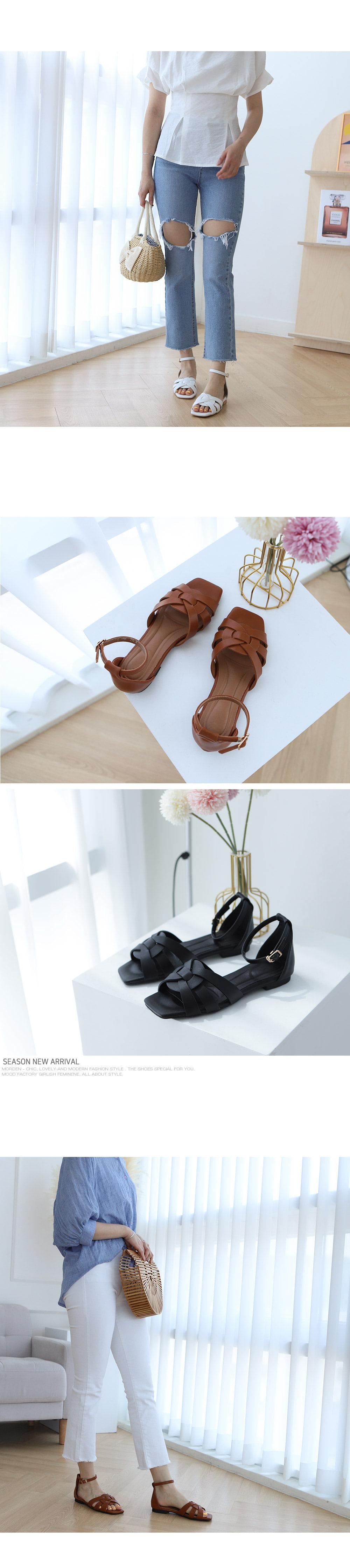 [Handmade] Square Toe Woven Sandals-Holiholic