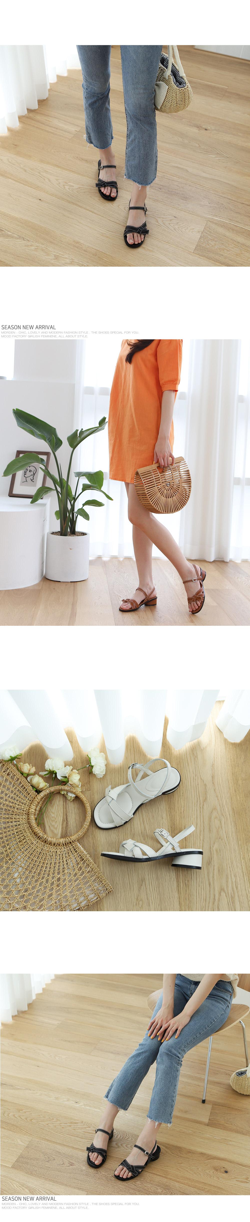 [Handmade] Stitch Bow Décor Leather Sandals-Holiholic